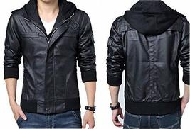 Men's detachable Slim fit Black Marble Faux Leather Moto Hooded Bomber Jacket image 1