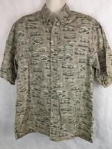Columbia Button Short Sleeve Size M Fish Pattern Cotton - $19.75