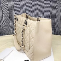AUTHENTIC CHANEL QUILTED CAVIAR GST GRAND SHOPPING TOTE BAG BEIGE SHW RECEIPT  image 5