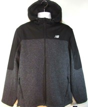 NEW BALANCE MEN'S BLACK/GREY FLEECE FULL ZIP HOODED SWEATER, #NBMJ8401-HC - $50.39