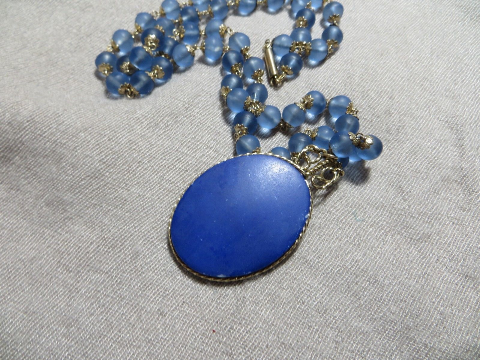 Antq. Victorian Beaded Blue Glass Gold Filled caps necklace w/Blue Glass Cameo