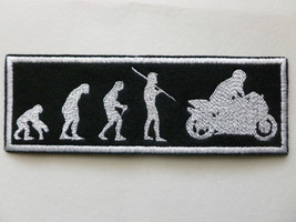 "BIKER PATCH Evolution from Ape Monkey to Motorcycle Rider 5-1/2""x2"" Blac... - $11.99"