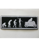 """BIKER PATCH Evolution from Ape Monkey to Motorcycle Rider 5-1/2""""x2"""" Blac... - $11.99"""