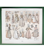 FRANCE Women Fashion Fishwife Milkmaid Servant - TINTED Litho Print by R... - $6.71