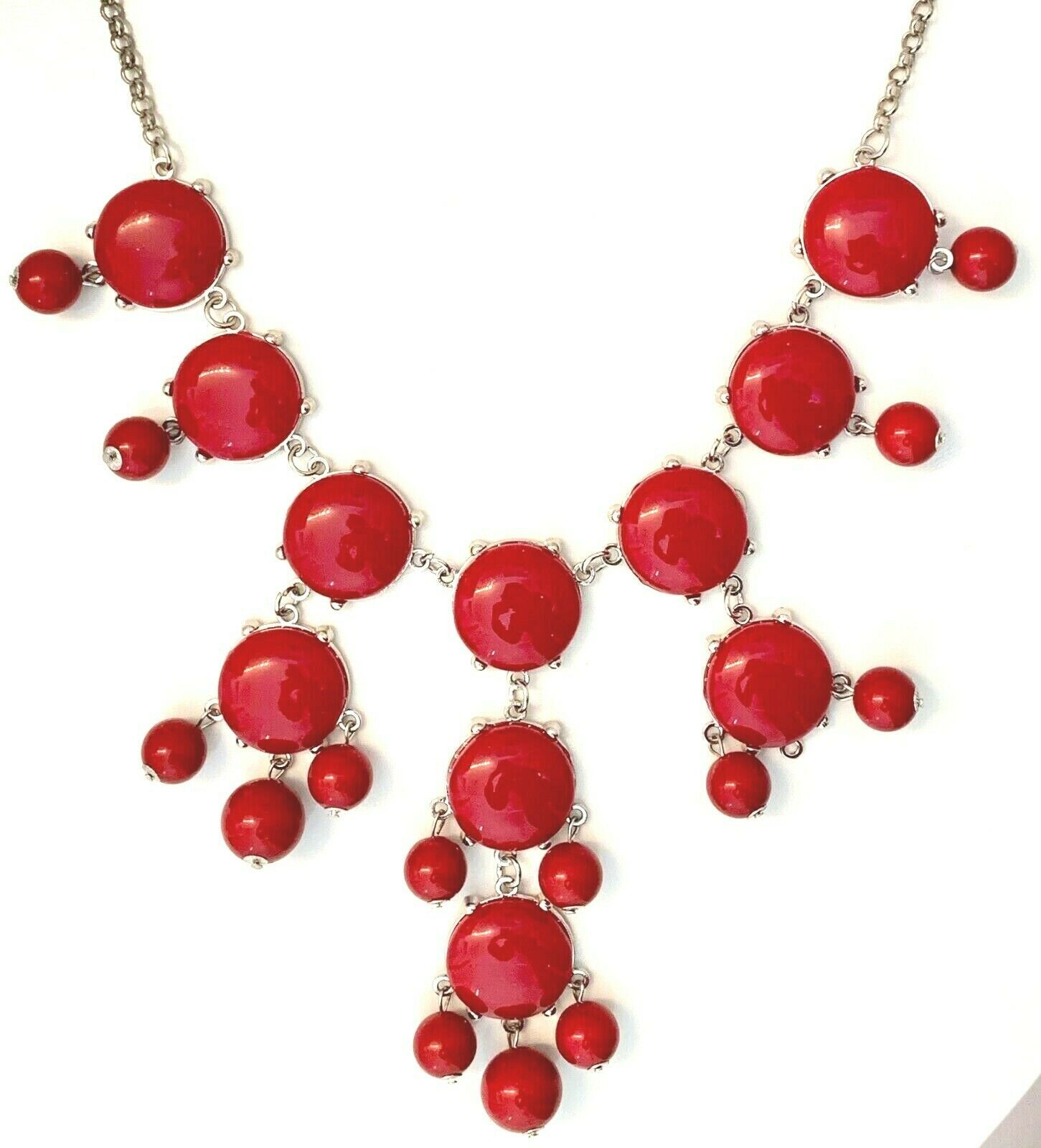 "BURGUNDY RED CLUSTER 29.5"" BEADED NECKLACE image 2"