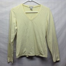 Ladies Banana Republic V Neck Long Sleeve Yellow Shirt Sz Medium