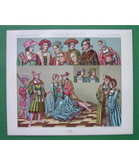 RENAISSANCE Costume Europe Fancy Hats - COLOR Litho Print by A. Racinet - $9.45