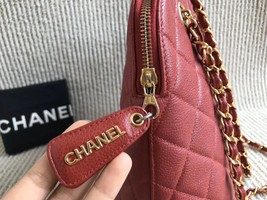 100% Authentic Chanel Vintage Red Quilted Caviar Classic Tote Bag GHW image 3