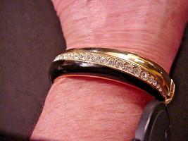 S A L Swarovski Brand Black Enamel Crystal Hinged Bangle Bracelet - $34.65