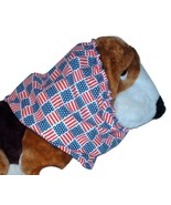 American Flags Patriotic Patchwork Block Print Cotton Dog Snood Sz Puppy... - $10.50