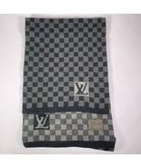 Louis Vuitton Damier Men's Wool Scarf Black Petite Gray Made In Italy LV... - $210.05