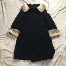 Vintage 60s Womens Black Forstmann Wool Peacoat Fur Trim - $173.24