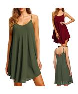 Women's Solid Chiffon Sleeveless Casual Dress  Party  Mini Dress - $21.66