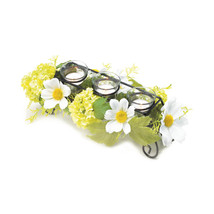 Candle Holder Flower, Small Metal Candle Holders Glass - White Flowers Art - $31.83