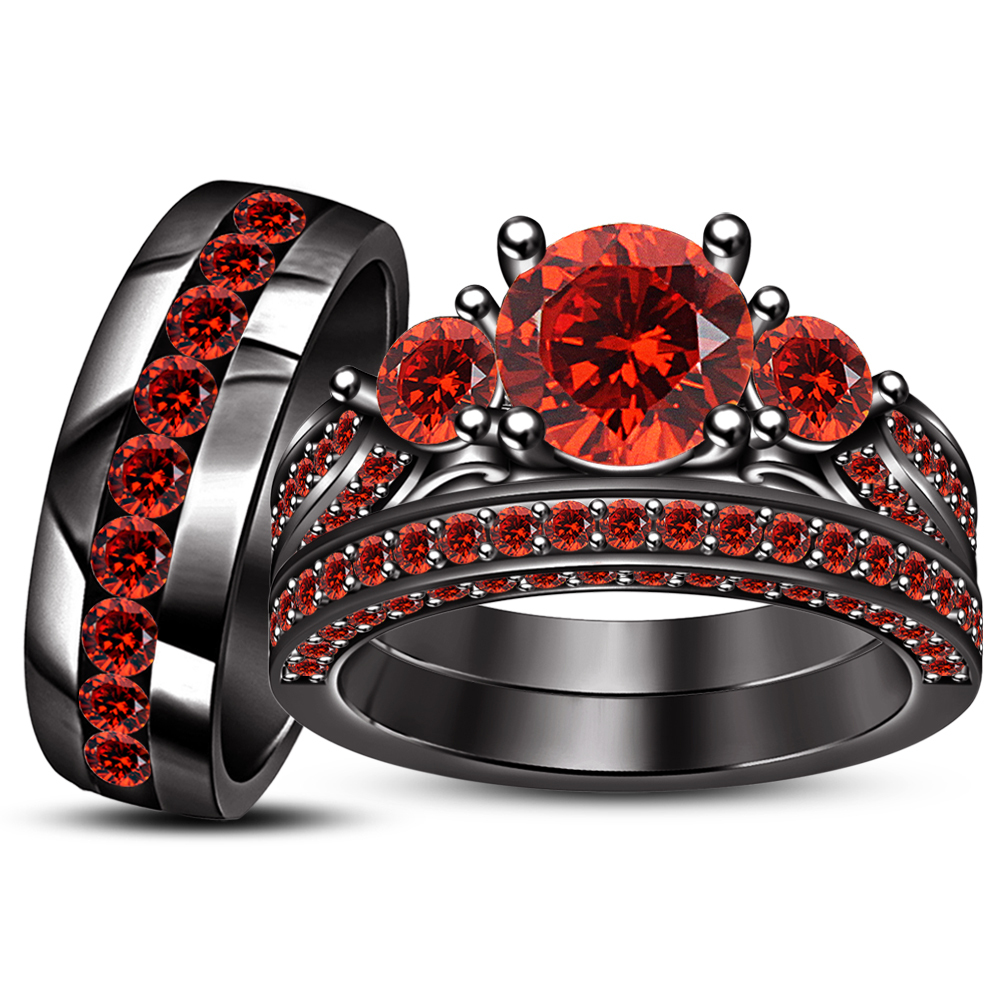 Black Gold Plated 925 Silver Red Garnet Engagement Ring & Wedding Band Trio Set