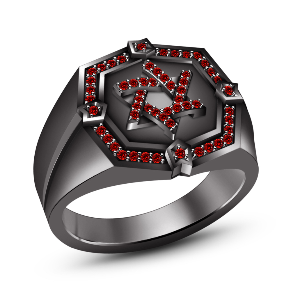 Primary image for Black Gold FN 925 Silver Round Cut Red Garnet Jewish David Star Ring Free Ship