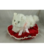 Russ White Cat Plush Red Heart Pillow Stuffed Animal toy - $19.95
