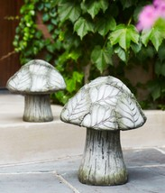 Melrose 2 Mushroom Outdoor Garden Patio Figures Green Leafy Caps 8 - 12IN - $92.80