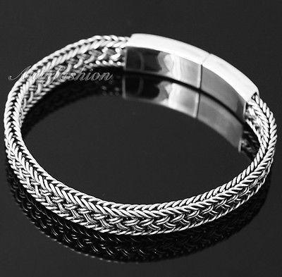 Mens Sterling Silver Bracelet Handcrafted Woven Belt Hip Hop Biker Beachwear b09