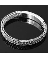Mens Sterling Silver Bracelet Handcrafted Woven Belt Hip Hop Biker Beach... - $192.46
