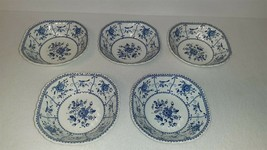 Johnson Brothers Ironstone Indies Blue Square Cereal Soup Bowl – Set of 5 - $36.00