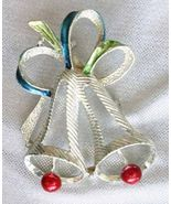 Festive Gerry's Silver-tone Mid Century Modern Christmas Bells Brooch  - $12.95