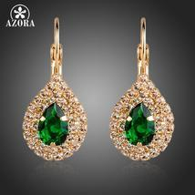 Gold Color Green Cubic Zirconia Tear Drop Earrings - $12.95