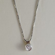 18K WHITE GOLD MINI NECKLACE WITH DIAMOND 0.03 CT, VENETIAN CHAIN MADE IN ITALY image 1