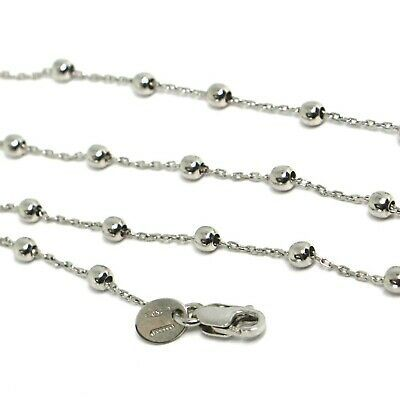 18K WHITE GOLD MINI BALLS CHAIN 2 MM, 18 INCHES SPHERE ALTERNATE OVAL ROLO LINK