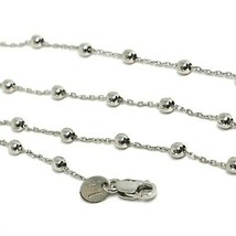 18K WHITE GOLD MINI BALLS CHAIN 2 MM, 18 INCHES SPHERE ALTERNATE OVAL ROLO LINK image 2