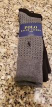 Polo Ralph Lauren Player Logo Men Gray Print Black Solid Dress Socks 3 Pairs Nwt - $14.99