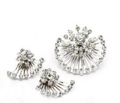 CORO Open Wire Sunburst Rhinestone Demi Parure  Brooch & Earrings Silvertone - $44.02