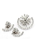 CORO Open Wire Sunburst Rhinestone Demi Parure  Brooch & Earrings Silver... - $44.02