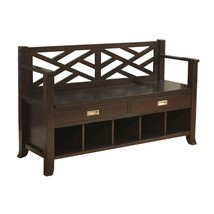 Entryway Bench Shoe With Drawers & Cubbies Rack Espresso Brown Hallway W... - $471.94 CAD