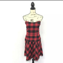 American Eagle Outfitters 14 Dress Plaid Red Black Strapless Fit And Fla... - $24.14