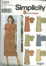Simplicity 5959KK Sewing Pattern Misses 6 Easy Dress Jacket Size 8-14 - $4.94