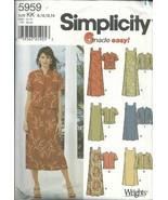 Simplicity 5959KK Sewing Pattern Misses 6 Easy Dress Jacket Size 8-14 - $4.94