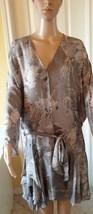 HALSTON Gray Silk LS Abstract Dress XL - $94.05