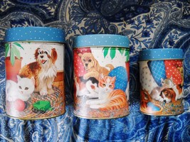3-PIECE VINTAGE DECORATIVE TIN NESTING CANNISTERS: PUPPIES & KITTENS - $12.99