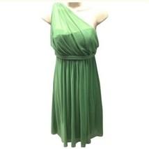 David's Bridal One Shoulder Dress Illusion Neck Green Wedding Size 8 - $26.99