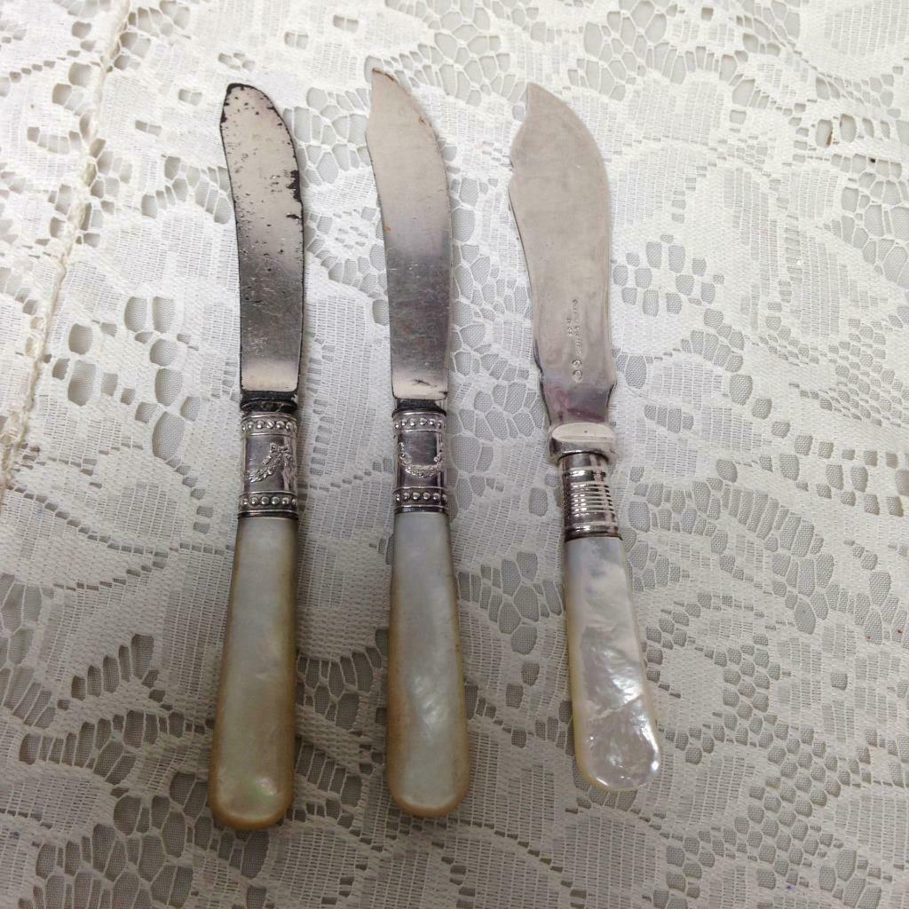 Antique, Meriden - Sheffield, Silver-Mother of Pearl 3pc Butter Knives - $28.45