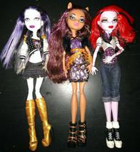Lot of 3 Monster High Dolls  Clawdeen Wolf, Operetta & Spectra Vondergeist - $35.00