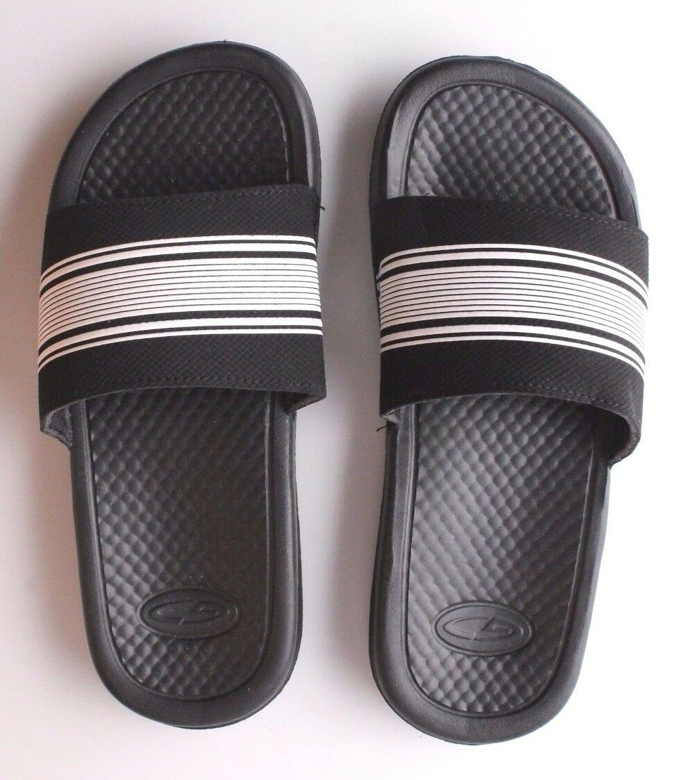 NEW C9 YOUTH CUSHION LITE BLACK/WHITE SLIP ON SANDALS SIZE L 4/5
