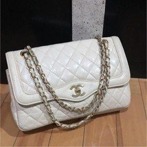 Auth CHANEL Shoulder Hand Bag Whitecream Matelasse Vintage Classic Flap ... - $989.01