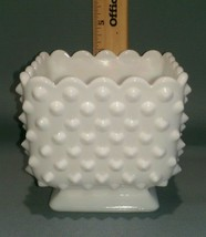 """Vintage Milk Glass Hobnail Scalloped Square Footed Planter 4"""" - $12.38"""