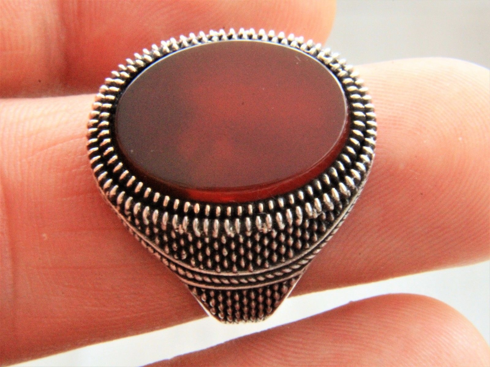 Turkish Ottoman Red Agate Gemstone Solid 925 Sterling Silver Men Ring