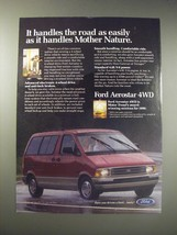 1990 Ford Aerostar 4WD Ad - It handles the road as easily as it handles Mother  - $14.99