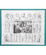 MYTHOLOGY Idols Egypt Isis Horus Sphinx Sacrifice Priests - 1844 Superb ... - $21.60