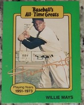 Willie Mays 1987 Baseball's All-Time Greats Signed Baseball Card Auto JS... - $98.01