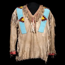 New Native American Beige Buckskin Goat Hide Bead Powwow Regalia War Shi... - $229.00+